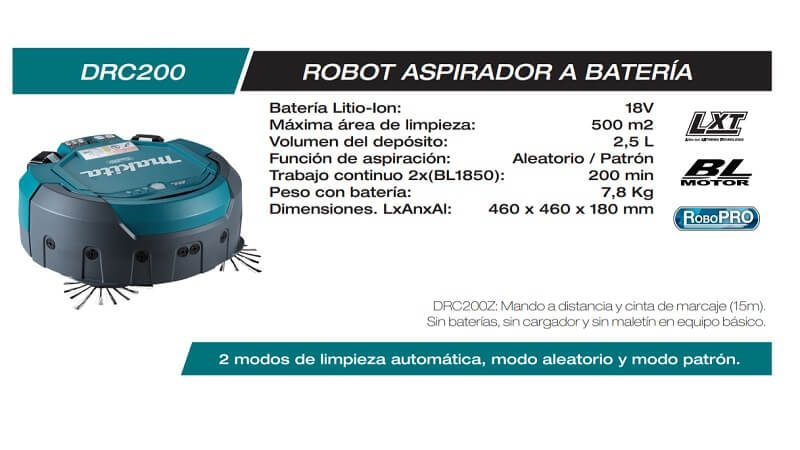 Robot aspirador industrial: Makita DRC200Z
